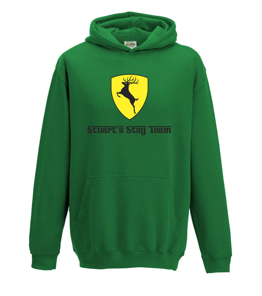Prancing Stag Do Personalised Kids Hoodie Supercar Custom Design