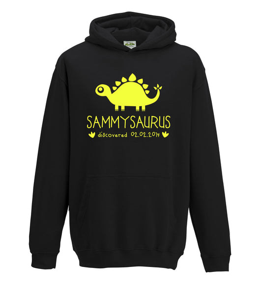 Personalised Dinosaur Hoodie Any Name Girls Boys Birthday Gift Jurassic