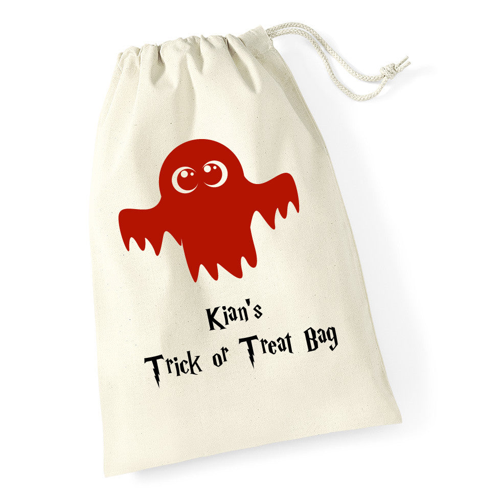 Juko Halloween Personalised Name Ghost Trick or Treat Bag