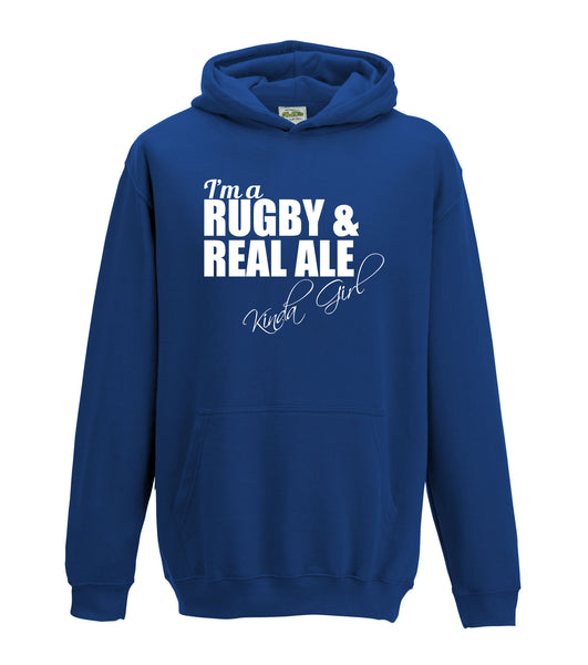 Juko I'm A Rugby And Real Ale Kinda Girl Hoodie Funny Hoody