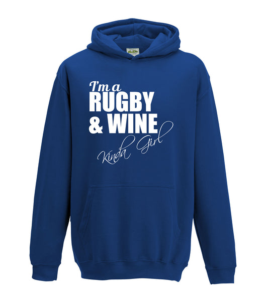 Juko I'm A Rugby And Wine Kinda Girl Hoodie Funny Hoody