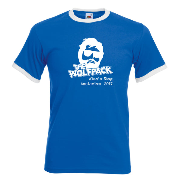 Wolfpack Stag Do Personalised Ringer T Shirt Hangover Custom Design