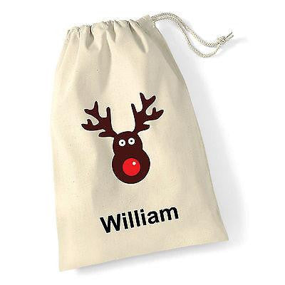 Christmas stocking Santa, Penguin or Reindeer sack  personalised stocking with your name