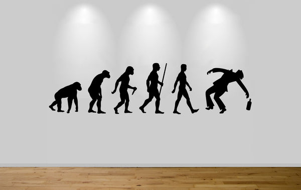 Drunk Man Evolution Wall Sticker Decal Bedroom Wall Art Ape Evo Drinking Sticker - Juko