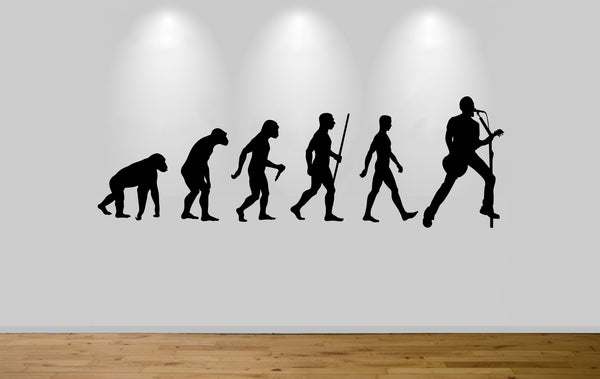 Guitar Evolution Wall Sticker Decal Bedroom Wall Art Music Evolution Guitarist
