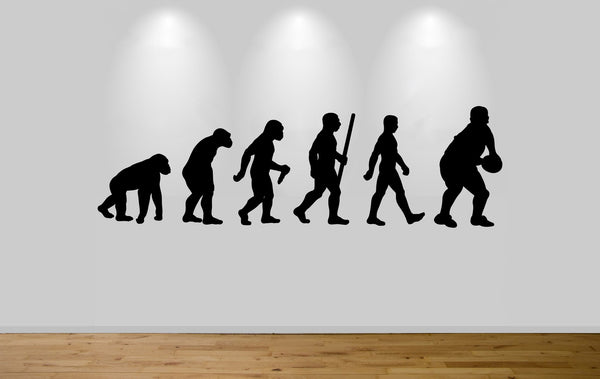 Rugby Evolution Wall Sticker Decal Bedroom Wall Rugby Player Evolution