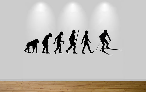 Skier Evolution Wall Sticker Decal Bedroom Art Skiing Evo Ape to Man