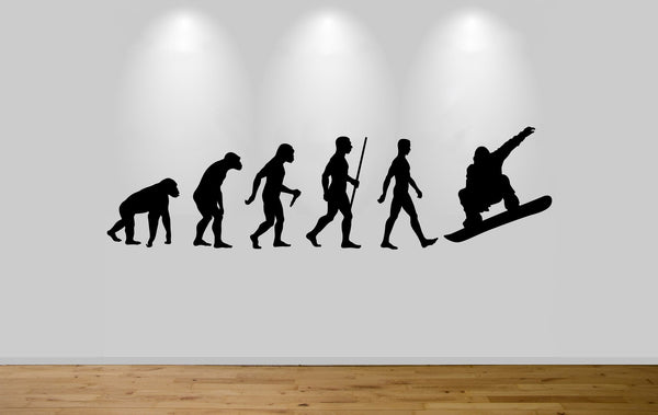 Snowboarder Evolution Wall Sticker Decal Bedroom Art Snowboarding Evo Ape to Man