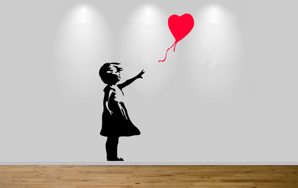 Banksy girl with balloon sticker art banksy graffiti wall art