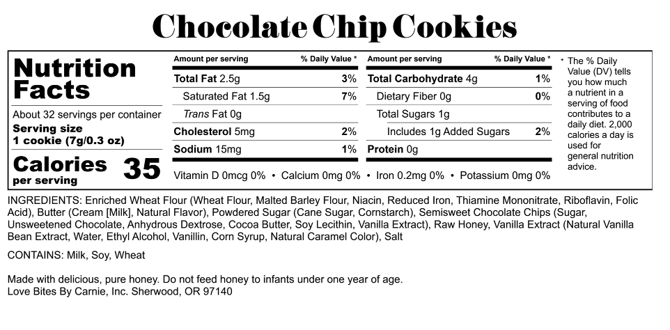 Love Bites by Carnie Chocolate Chip Nutrition. Portion controlled.