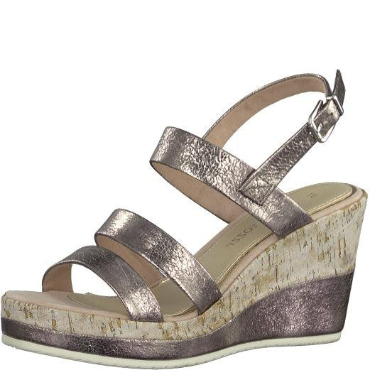 28357 MARCO TOZZILadiesLogues ShoesROSE METALLIC / 42 = 8 UK