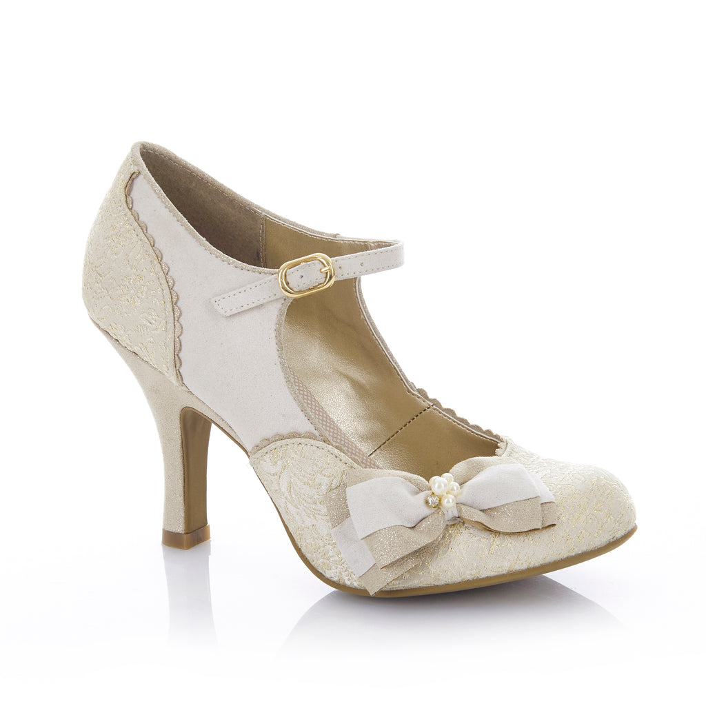 MARIA 09155 RUBY SHOOLadiesLogues ShoesCREAM /GOLD / 42 = 8 UK