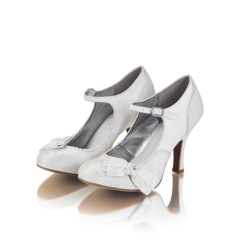 MARIA 09155 RUBY SHOOLadiesLogues ShoesWHITE /SILVER / 36 = 3 UK
