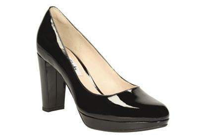 CLA Kendra Sienna-Ladies-Clarks-Black Pat-025-D-Logues Shoes