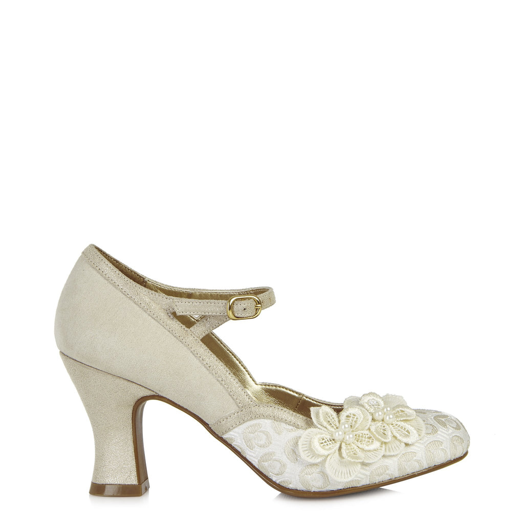 AMELIA 09089 RUBY SHOO-Ladies-RUBY SHOO-CREAM-38 = 5UK-Logues Shoes