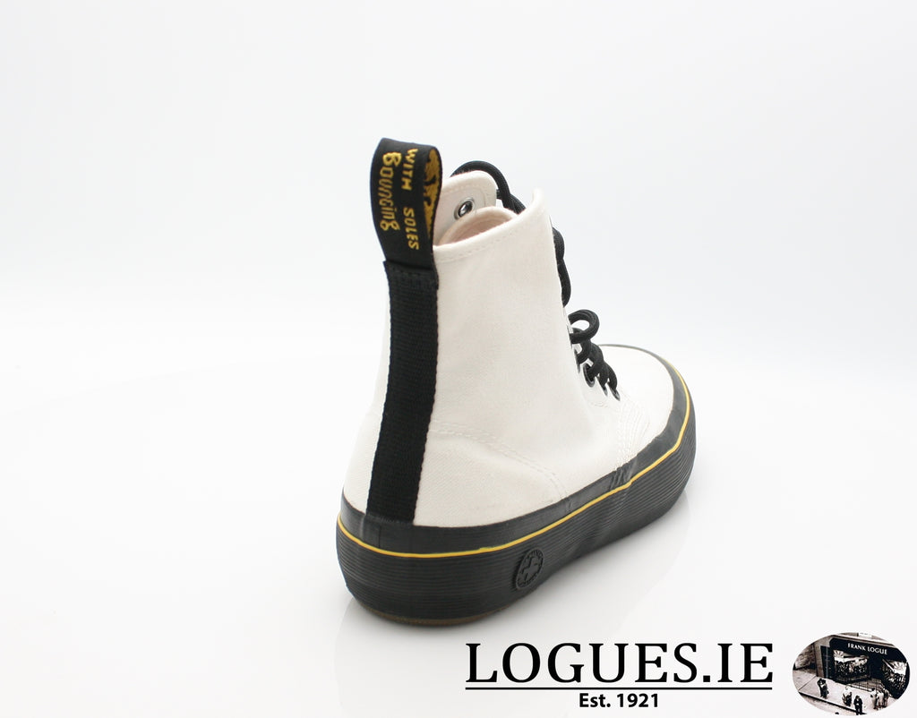 MONET 21968 DR MARTENS-Ladies-Dr Martins-WHITE CANVAS 100-9 UK-Logues Shoes