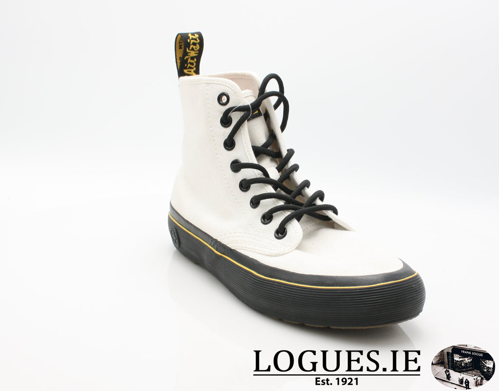 MONET 21968 DR MARTENS-Ladies-Dr Martins-WHITE CANVAS 100-4 UK-Logues Shoes