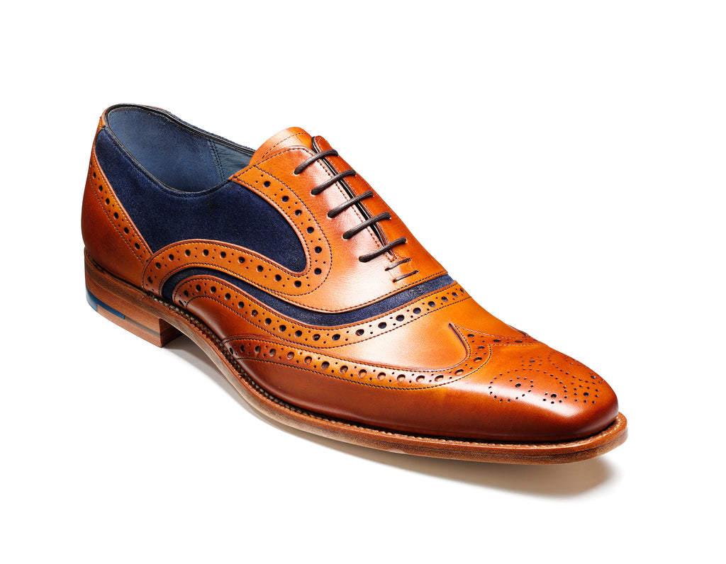 MC CLEAN BARKER-Mens-BARKER SHOES-cedar calf/blue suede-6-Logues Shoes