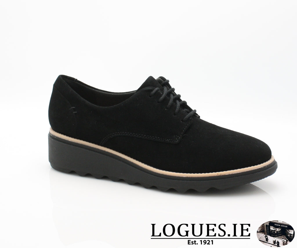 CLA Sharon Noel-Ladies-Clarks-Black Nubuck-045-D-Logues Shoes