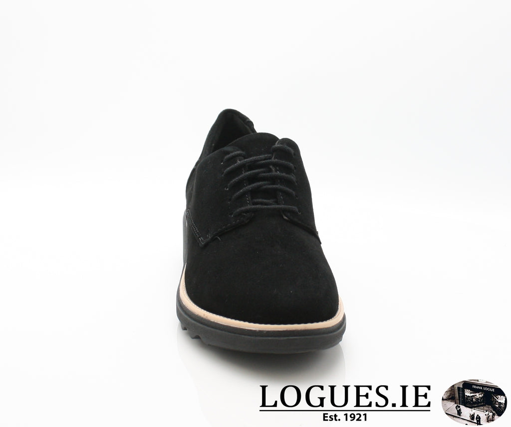 CLA Sharon Noel-Ladies-Clarks-Black Nubuck-050-D-Logues Shoes