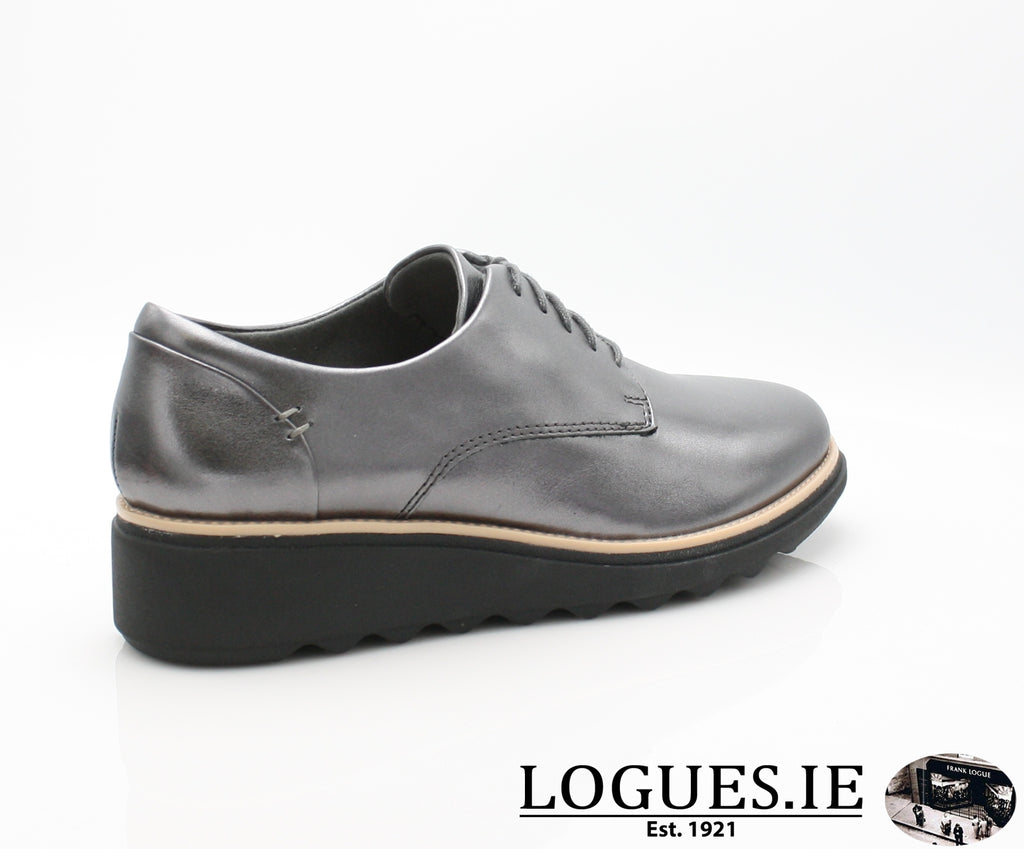 CLA Sharon Noel-Ladies-Clarks-Gun Metal Lea-080-D-Logues Shoes
