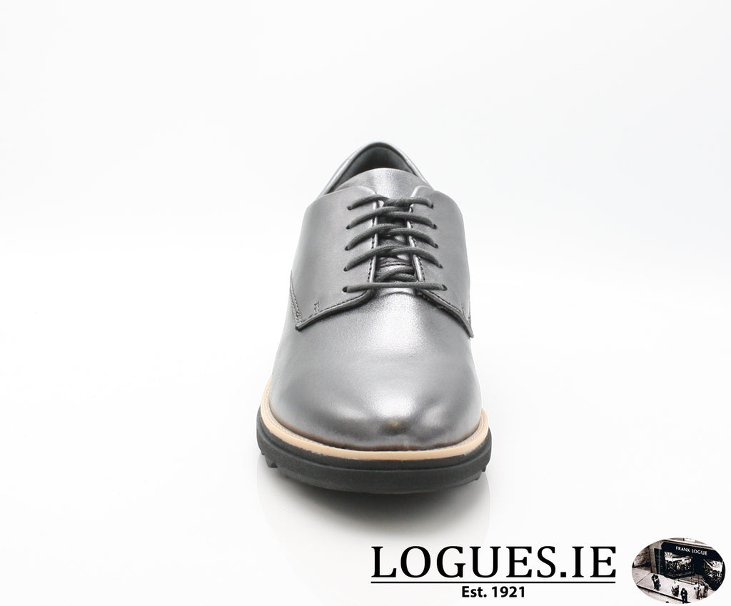 CLA Sharon Noel-Ladies-Clarks-Gun Metal Lea-050-D-Logues Shoes