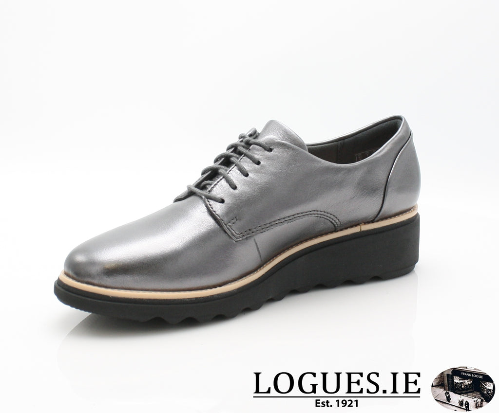 CLA Sharon Noel-Ladies-Clarks-Gun Metal Lea-060-D-Logues Shoes