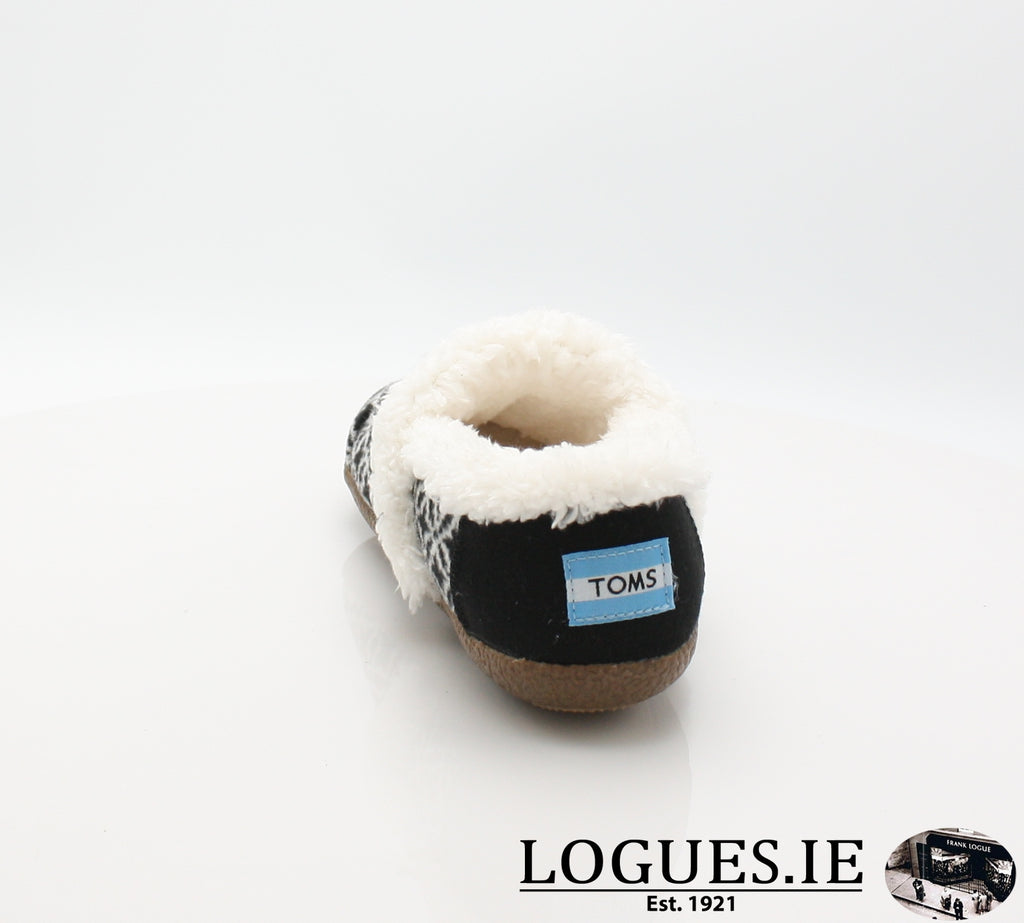 HOUSE SLIPPER-Ladies-TOMS SHOES-BLACK WHITE-7 UK = 9 US-Logues Shoes