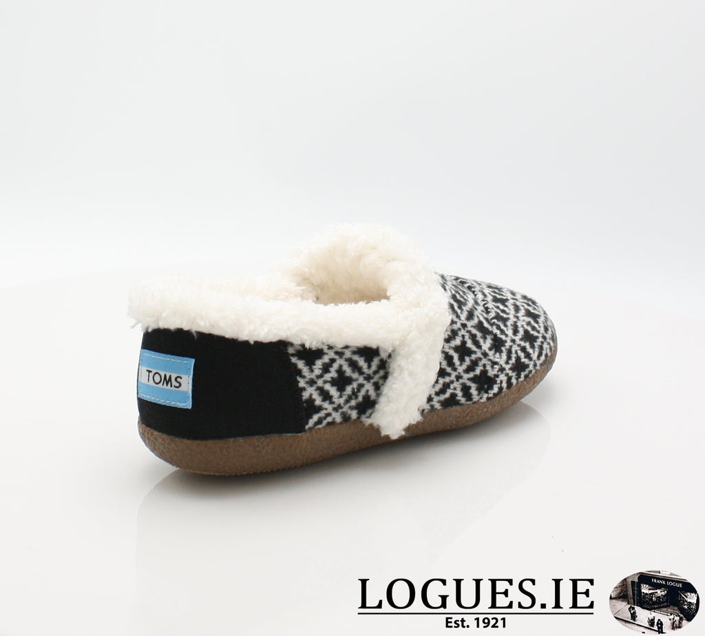 HOUSE SLIPPER-Ladies-TOMS SHOES-BLACK WHITE-8 UK = 10 US-Logues Shoes