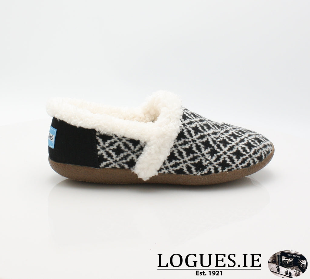 HOUSE SLIPPER-Ladies-TOMS SHOES-BLACK WHITE-3UK = 5 US-Logues Shoes