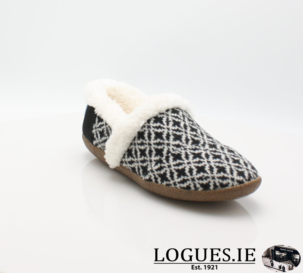 HOUSE SLIPPERLadiesLogues ShoesBLACK WHITE / 4 UK = 6 US