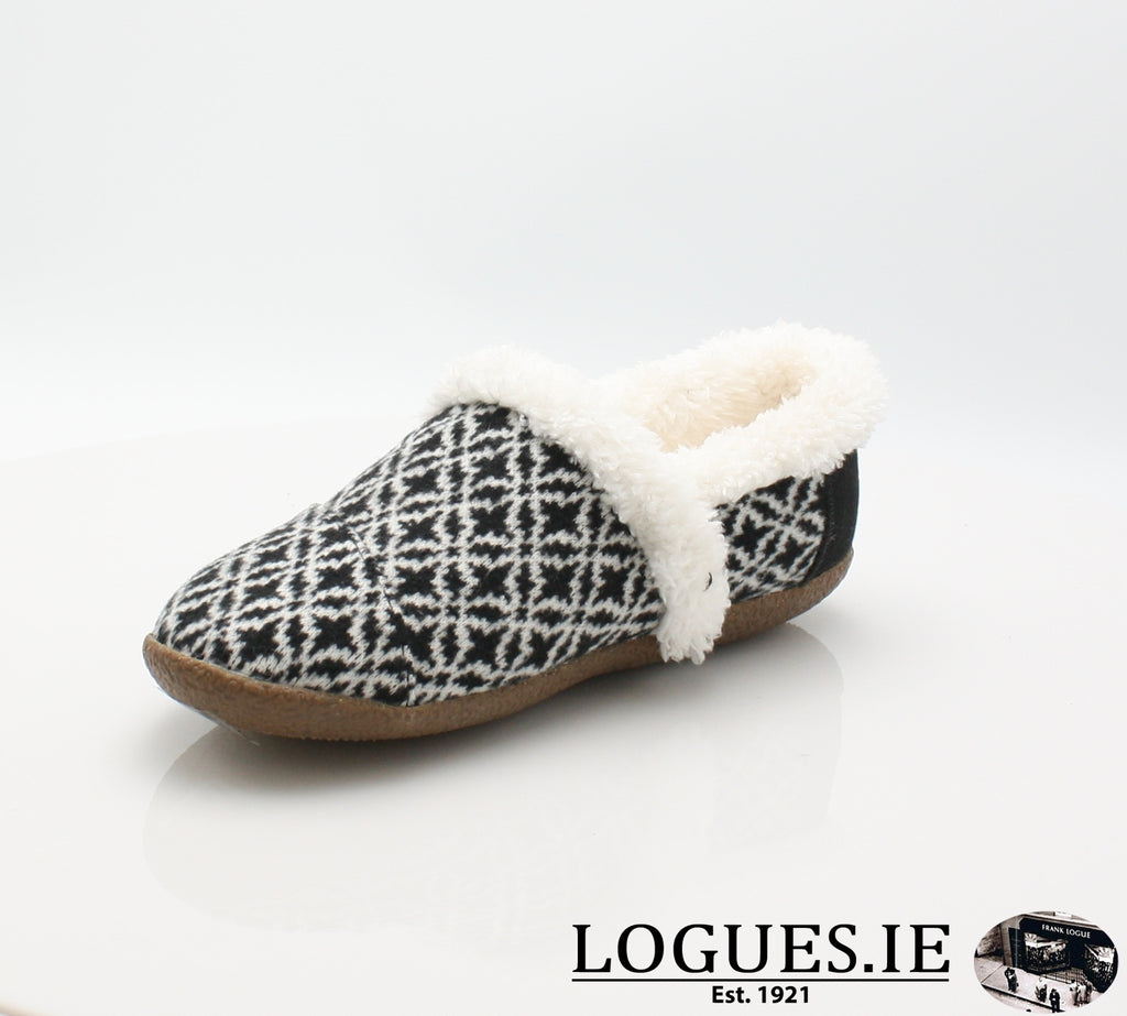 HOUSE SLIPPER-Ladies-TOMS SHOES-BLACK WHITE-5 UK =7 US-Logues Shoes