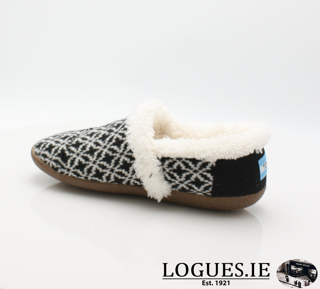 HOUSE SLIPPER-Ladies-TOMS SHOES-BLACK WHITE-6 UK = 8 US-Logues Shoes