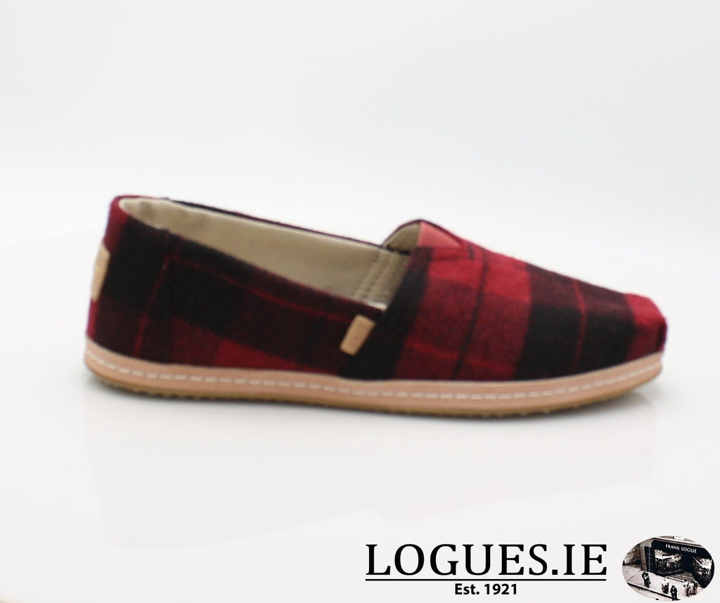 ALPR ESP-Ladies-TOMS SHOES-RED PLAID-3UK = 5 US-Logues Shoes
