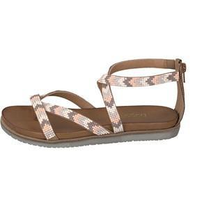 VICENZA 41001 Womens Beige//White Patent Leather Sling Back Sandals with 3,5 inch Heel