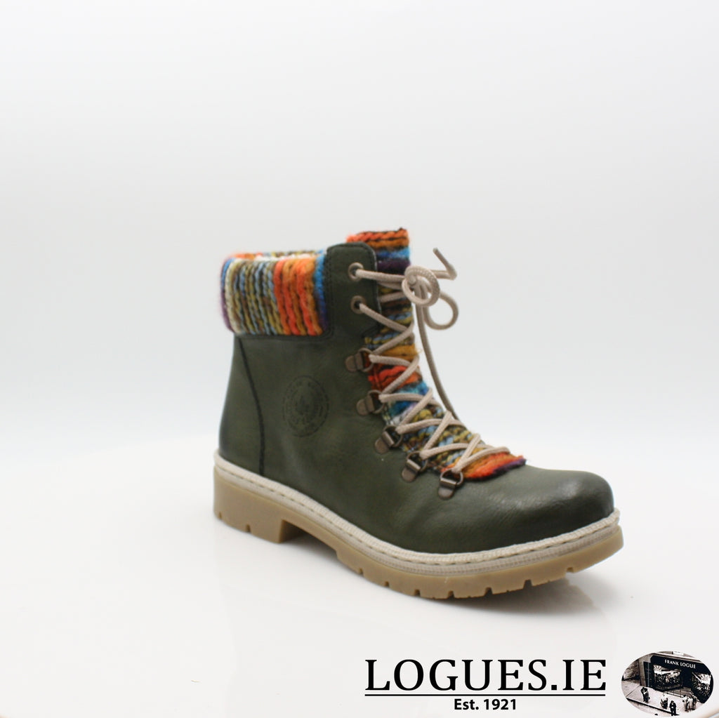 Y9432 RIEKER 19BOOTSLogues Shoesgreen combination 52 / 37