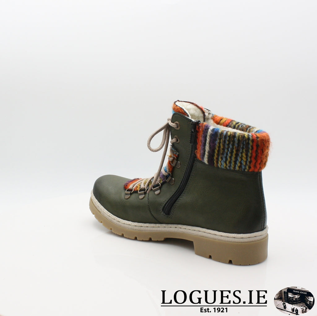 Y9432 RIEKER 19BOOTSLogues Shoesgreen combination 52 / 40