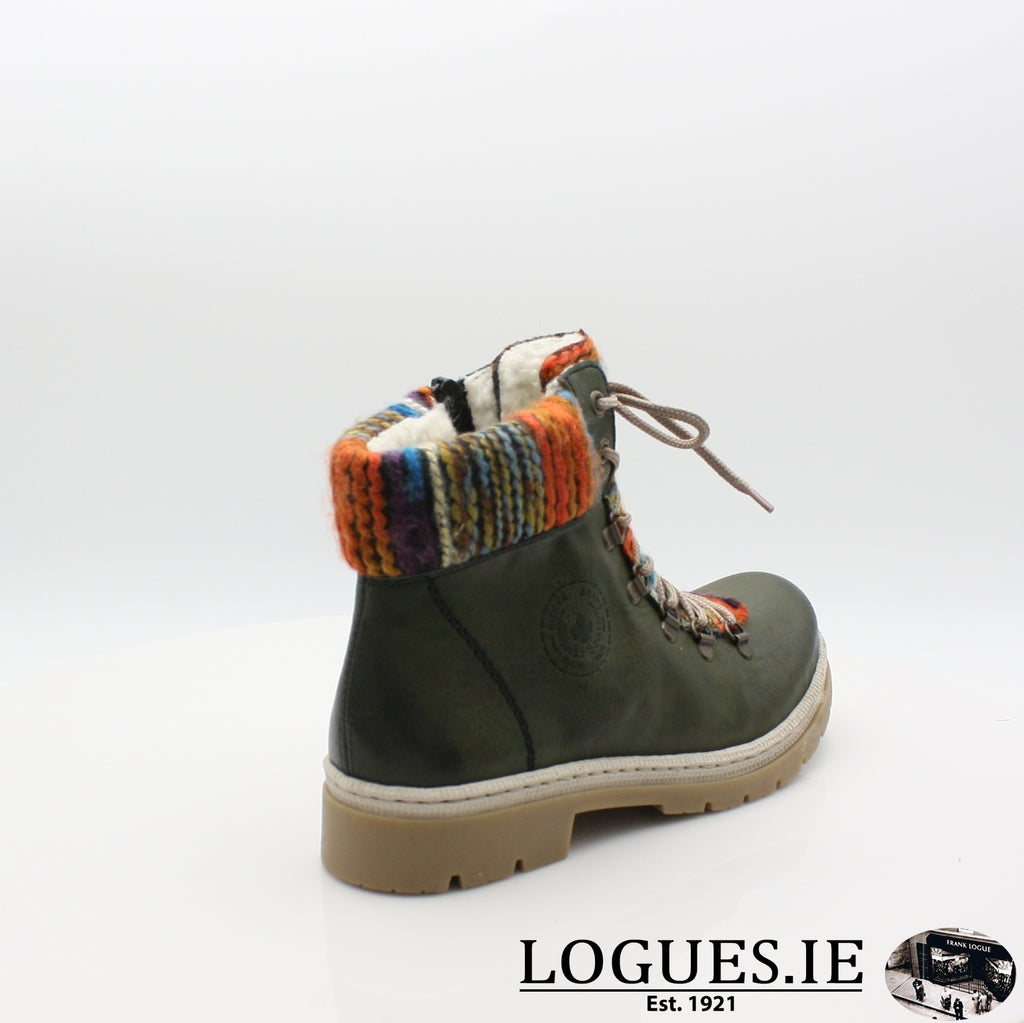 Y9432 RIEKER 19BOOTSLogues Shoesgreen combination 52 / 42