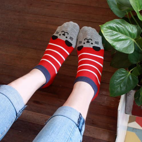 S05 - Fun Girls / Women's Cartoon Animal Stripe Socks - 4 Design Choices