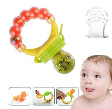 B2 - Silicone Baby Food Feeder Pacifier Gum Teether Nibbler with Fresh Fruits Vegetables for Feeding Toddlers
