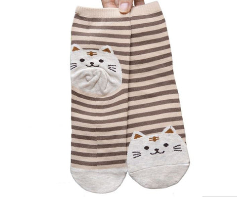 S02 - Women Girls Fashion Animals Striped Cartoon Cotton Socks