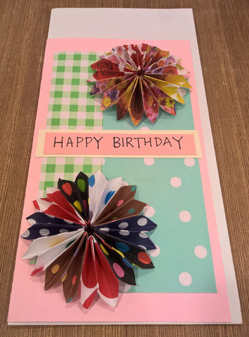"H3 - Handmade Greeting Cards - ""Origami Dahlia Birthday"" by Deborah Wong"