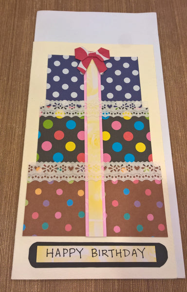 "H4 - Handmade Greeting Cards - ""Polka Dots Presents Birthday"" by Deborah Wong"