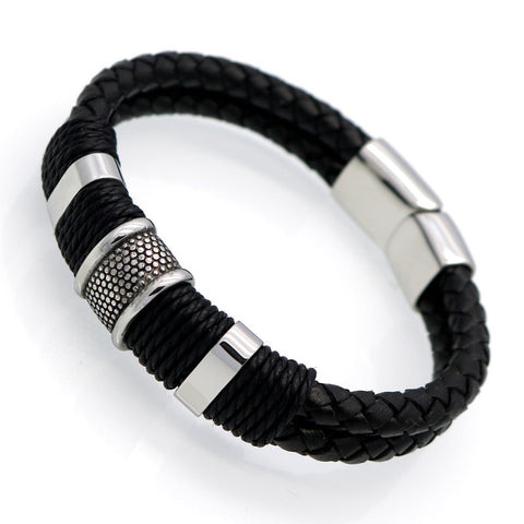 W2 - Handmade Genuine Leather Weaved Double Layer Mens Wristband Bracelet With Magnetic Clasp Buckle