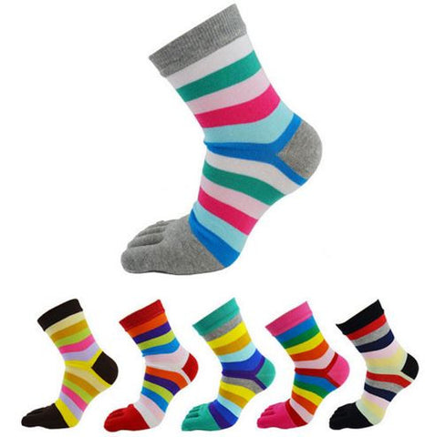 S08 - Women's Striped Five Toe Cotton Socks - 6 Design Choices