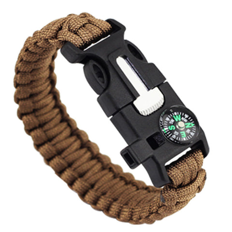 E07 - Multi-functional Paracord Bracelet With Firestarter Scraper Compass & Whistle