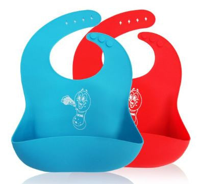 B3 - Two Units Of Waterproof Silicone Baby Bib Soft Cute for Toddlers Babies With Large Pocket Bibs