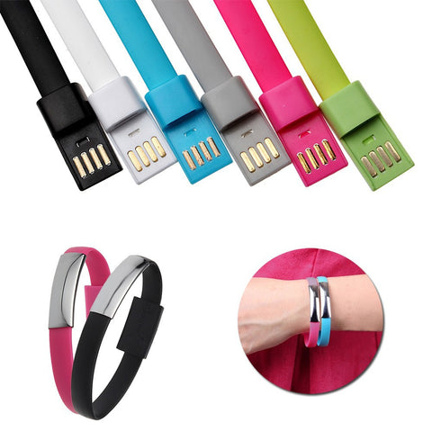 U4 - Wristband Bracelet Style TPE Flat 8 Pin USB Data Sync Charging Cable for iPhone 6 6 Plus 5/5S/5C