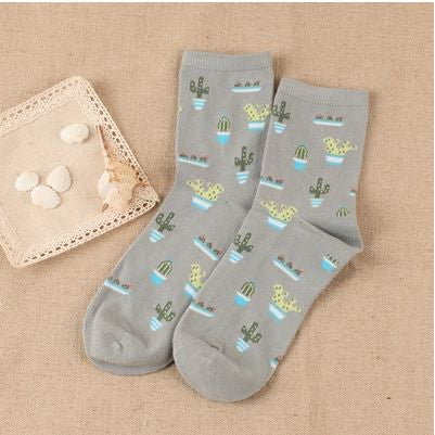 S14 - Girl's / Women's Cactus Themed Socks - 5 Color Choices