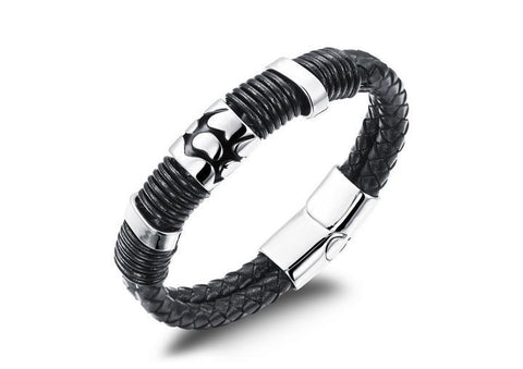 W4 - Mens Vintage Leather Stainless Steel Wristband Bracelet